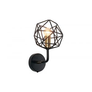 Modern and Unique Matt Black and Satin Brass Switched Wall Light Fitting
