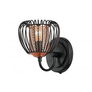 Modern Designer Matt Black Metal Wall Light with Copper Shade and Switch Button