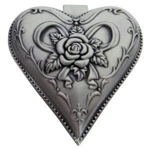 Light Pewter Plated Metal Heart Shaped Jewellery Trinket Box with Rose Decor