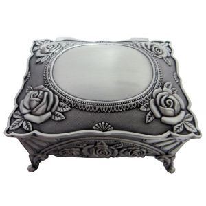 Dark Pewter Metal Trinket Jewellery Treausre Chest with Intricate Floral Decor