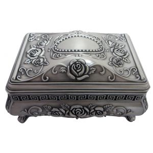 Art Nouveau Hand-Brushed Pewter Trinket Jewellery Box with Black Velvet Inner