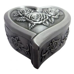 Antique Pewter Plated Metal Heart Trinket Jewellery Box with Rose Decoration