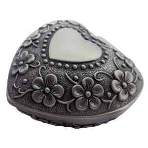 Antique Pewter Plated Metal Heart Trinket Jewellery Box with Floral Decoration