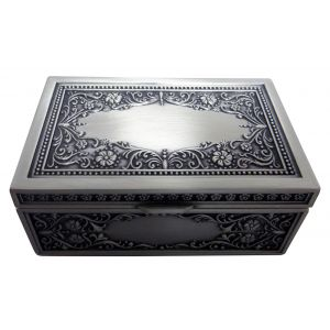 Pewter Metal Rectangular Trinket Jewellery Chest with Intricate Floral Decor