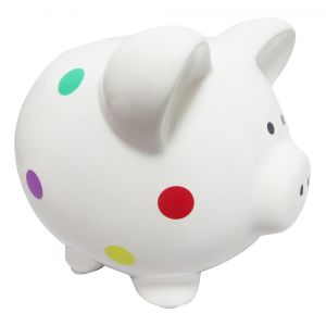 White Glazed Gloss Polka Dot Ceramic Piggy Bank with Bright Multicolored Spots