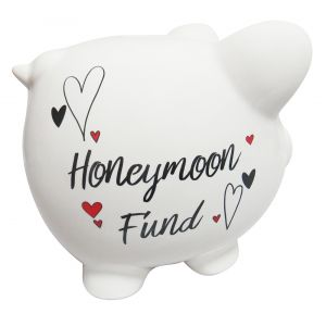 White Ceramic Piggy Bank with Black Honeymoon Fund Lettering and Red Hearts