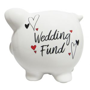 White Gloss Ceramic Piggy Bank with Black Wedding Fund Lettering and Red Hearts