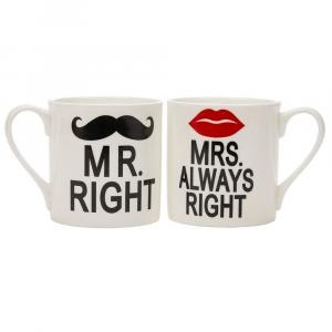 Funny, Contemporary White Mr Right and Mrs Always Right Ceramic Mug Gift Set