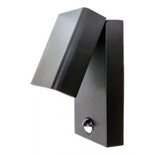 Contemporary LED Motion Sensor Outdoor Wall Light in Die-Cast Black Aluminium