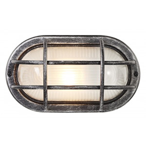 Black/Silver Cast Aluminium Outdoor Oval Bulkhead Wall Light