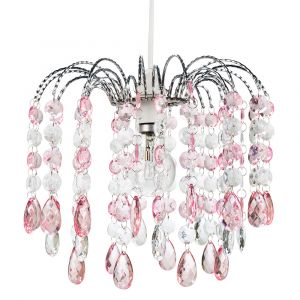 Contemporary Waterfall Pendant Shade with Pink and Clear Acrylic Droplets