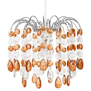 Contemporary Waterfall Pendant Shade with Amber and Clear Acrylic Droplets