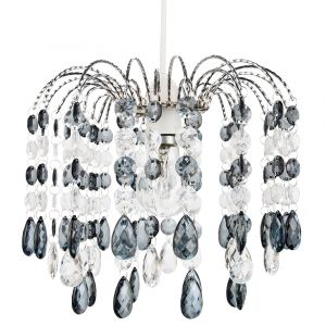 Modern Waterfall Pendant Shade with Smoked Black and Clear Acrylic Droplets