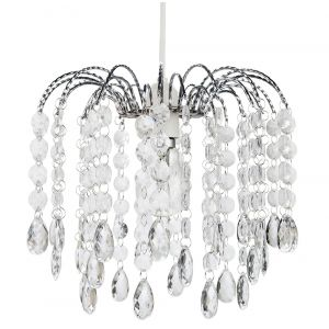 Contemporary Waterfall Pendant Shade with Transparent Acrylic Droplets and Beads