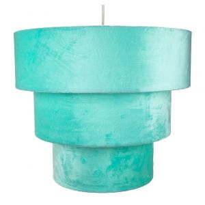 Teal Velvet and Suede Mix Large Triple Tier Pendant Light Shade 40cm Diameter