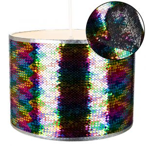 Modern Designer Multi-Coloured and Silver Sequin Easy Fit Pendant Light Shade