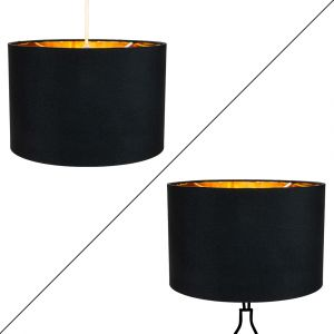 """Contemporary Black Cotton 10"""" Table/Pendant Lamp Shade with Shiny Golden Inner"""