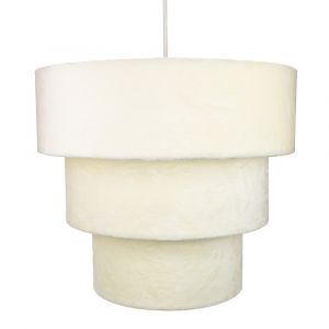 Cream Velvet and Suede Mix Large Triple Tier Pendant Light Shade 40cm Diameter