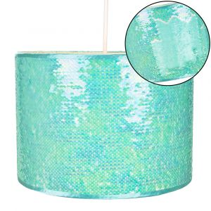 Modern Designer Matt and Shiny Teal Sequin Decor Easy Fit Pendant Light Shade