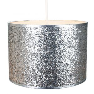 Modern and Designer Bright Silver Glitter Fabric Pendant/Lamp Shade 25cm Wide