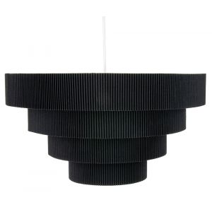Contemporary Black Micro Pleat Four-Tier Textile Pendant Light Shade 60w Maximum