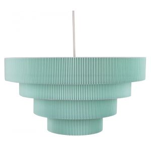 Contemporary Teal Micro Pleat Four-Tier Textile Pendant Light Shade 60w Maximum
