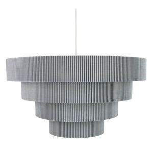 Contemporary Grey Micro Pleat Four-Tier Textile Pendant Light Shade 60w Maximum