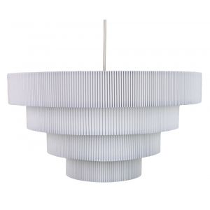 Contemporary White Micro Pleat Four-Tier Textile Pendant Light Shade 60w Maximum