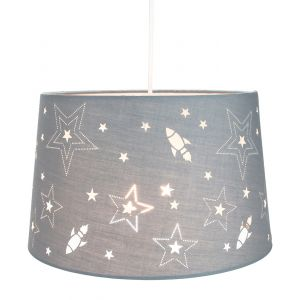 Fun Rockets and Stars Childrens/Kids Grey Linen Bedroom Pendant or Lamp Shade