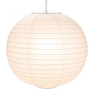 Classical Circular White Bamboo Style Ribbed Paper Lantern Pendant Shade - 14""
