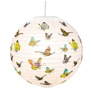 Classic Circular Butterfly Bamboo Style Ribbed Paper Lantern Pendant Shade - 16""