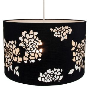 Modern Black Cotton Laser Cut Floral Decoration Pendant Ceiling or Lamp Shade