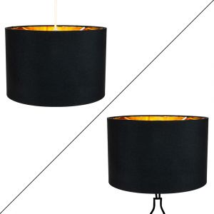 "Contemporary Black Cotton 12"" Table/Pendant Lamp Shade with Shiny Golden Inner"