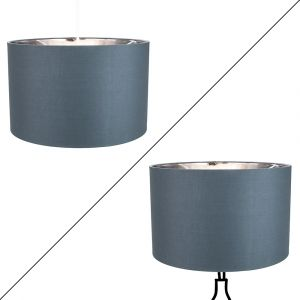 "Contemporary Grey Cotton 14"" Table/Pendant Lamp Shade with Shiny Silver Inner"