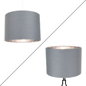 """Contemporary Grey Cotton 14"""" Table/Pendant Lamp Shade with Shiny Silver Inner"""
