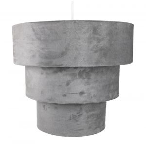 Grey Velvet and Suede Mix Large Triple Tier Pendant Light Shade 40cm Diameter