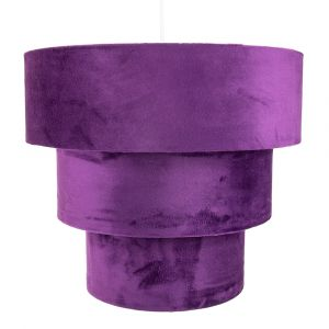 Purple Velvet and Suede Mix Large Triple Tier Pendant Light Shade 40cm Diameter