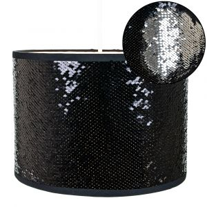 Modern Designer Shiny Black and Silver Sequin Easy Fit Pendant Light Shade