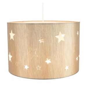 Beautiful Beige Linen Childrens/Kids Pendant/Lamp Shade with Laser Cut Stars