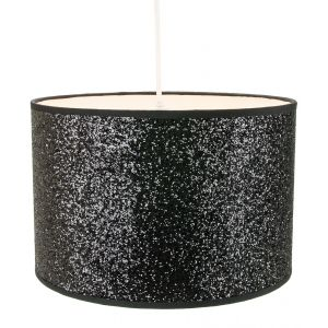 Modern and Designer Bright Black Glitter Fabric Pendant/Lamp Shade 25cm Diameter