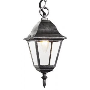 Black/Silver Cast Aluminium IP44 Outdoor Hanging Lantern