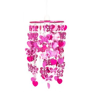 Pink and Purple Butterfly Childrens Bedroom/Nursery Ceiling Pendant Light Shade