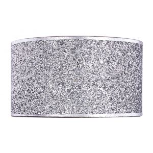 Modern Bright Silver Glitter Fabric Wall Light Fitting Uplight and Downlight