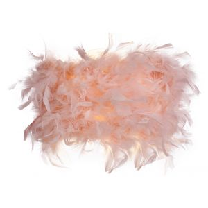 Eye-Catching and Modern Real Pink Feather Decorated Flush Wall Light Fixture