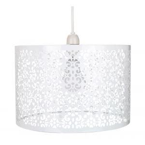 Marrakech Designed White Metal Pendant Light Shade with Floral Decoration