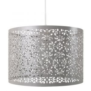 Marrakech Designed Soft Grey Metal Pendant Light Shade with Floral Decoration