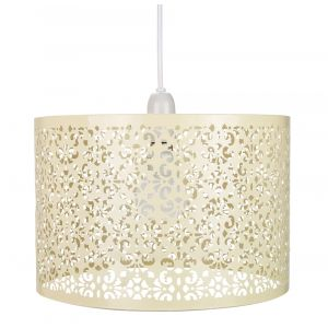 Marrakech Designed Butterscotch Metal Pendant Light Shade with Floral Decoration