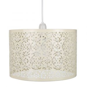 Marrakech Designed Cream Metal Pendant Light Shade with Floral Decoration