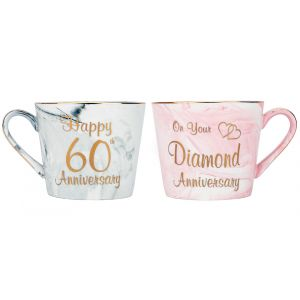 Beautiful 60th Anniversary Grey and Pink Marble Ceramic Mugs with Golden Trim