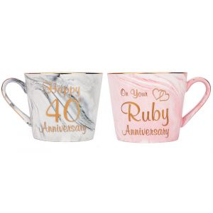 Beautiful 40th Anniversary Grey and Pink Marble Ceramic Mugs with Golden Trim